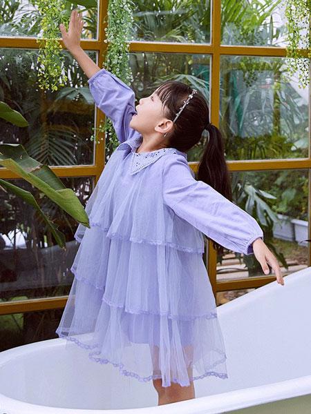 V-rules童�b品牌2020春夏新款�色�L袖透�公主裙