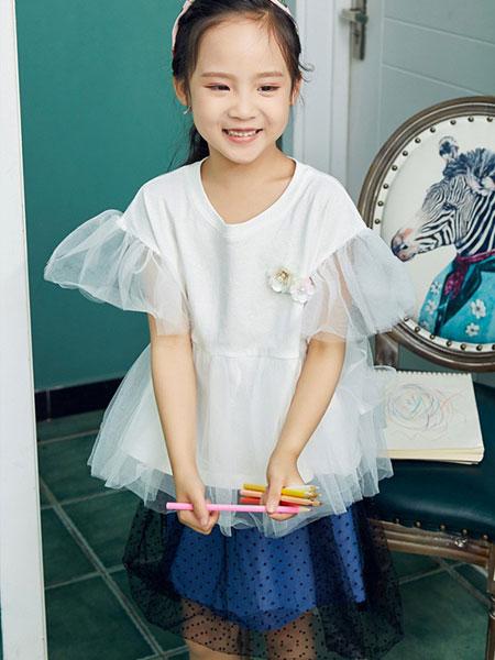 V-rules童装品牌2020春夏新款纯色短袖透纱公主裙