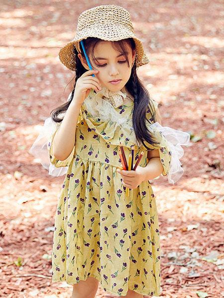 V-rules童装品牌2020春夏新款波点长款连衣裙