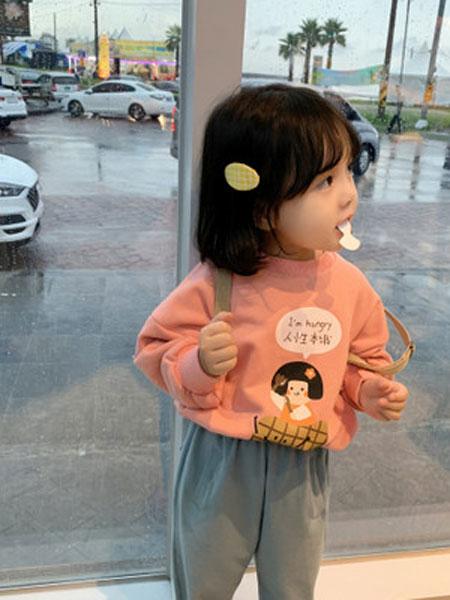 果果熙童装品牌2020春夏新款女童长袖圆领卡通卫衣宽松时尚女宝宝洋气带绒上衣