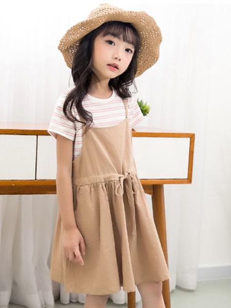 V-LOVE (唯乐儿)童装品牌2020春夏新款纯色吊带连衣裙