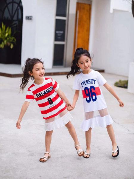 麦乐鸭童装品牌2020春夏新款高领条纹拼接色短袖上衣