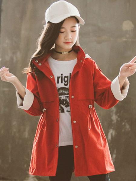 花样童依童装品牌2020春夏中大童女童拼色连帽风衣中长款儿童风衣外套