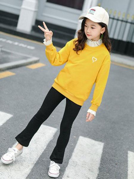花样童依童装品牌2020春夏韩版中大童长袖卫衣喇叭裤休闲两件套