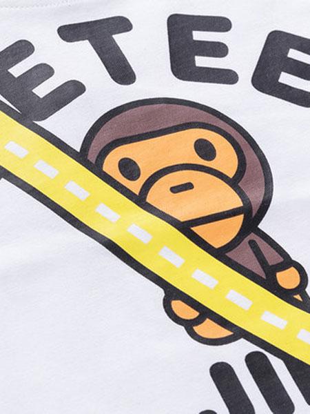 安逸猿童�b品牌2020春夏新品背包印花童�b�L袖T恤�棉休�e上衣