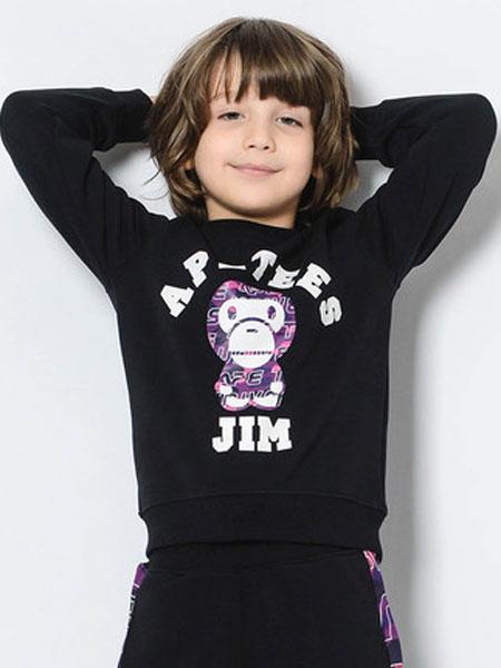 安逸猿童装品牌2020春夏新品亲子装个性字母印花套头加绒卫衣
