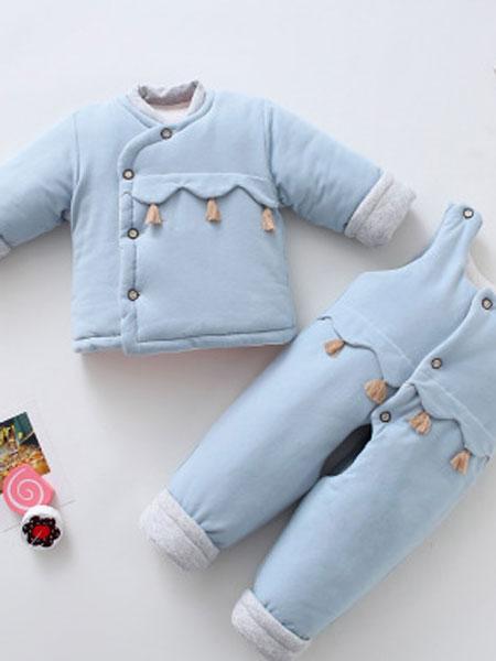 婴童纯棉手工棉衣童套装秋冬新款宝宝偏襟长袖上衣加厚开脚背带裤