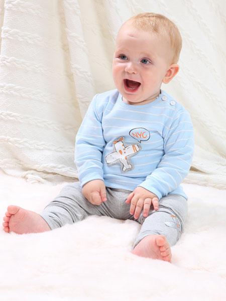 可乐米童装品牌2020春夏新款幼儿爬行外出服套装