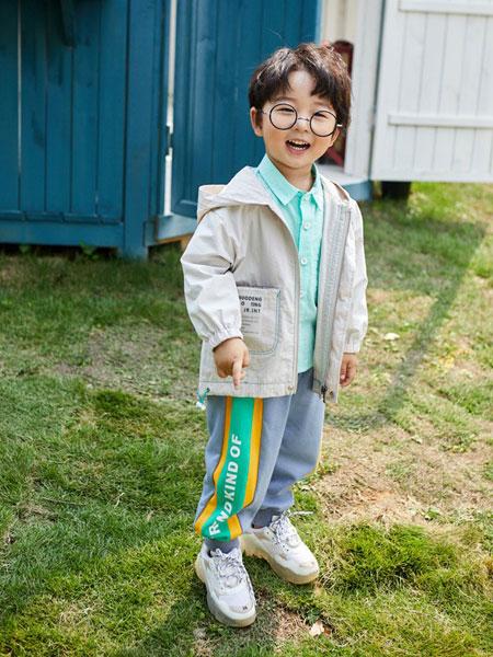 小资范童装品牌2020春夏新款纯色印字外套