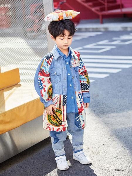 小资范童装品牌2020春夏新款牛仔图案印花外套