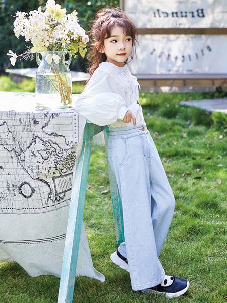 小资范童装品牌2020春夏新款女童纯色斯文简洁衬衫