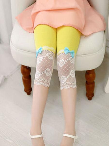 赛贵童装品牌2020春夏女童新款韩版蕾丝花边打底裤 蝴蝶结七分童裤