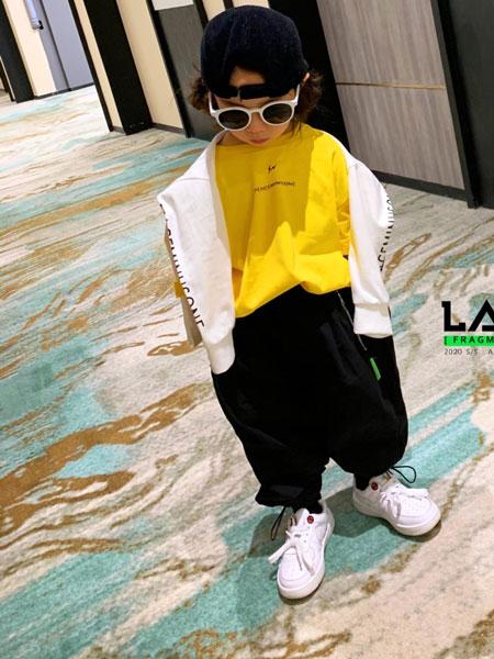 拉酷儿童装品牌2020春夏新款黄色印字卫衣