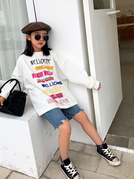 拉酷儿童装品牌2020春夏新款纯色印字涂鸦街头风格卫衣