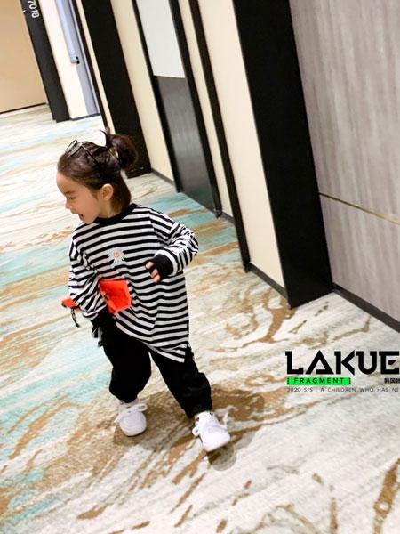 拉酷儿童装品牌2020春夏新款条纹图案长袖上衣