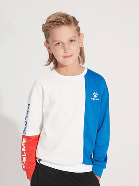kelme(kids)男童卫衣2020春秋新款圆领卫衣儿童插色时尚套头衫