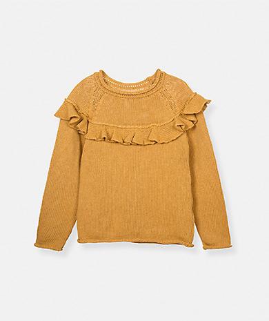 Lanidor童装品牌2020春夏荷叶边针织毛衣