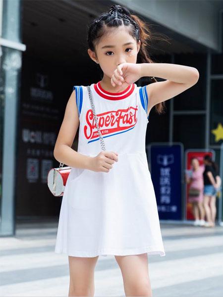 BennyJenny童装品牌2020春夏新款纯色印字无袖卫衣裙