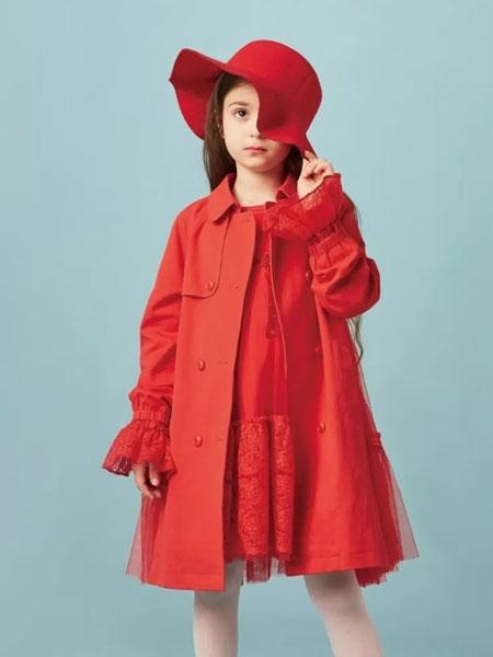 水孩儿souhait童装品牌2020春夏新款红色气质开衫连衣裙