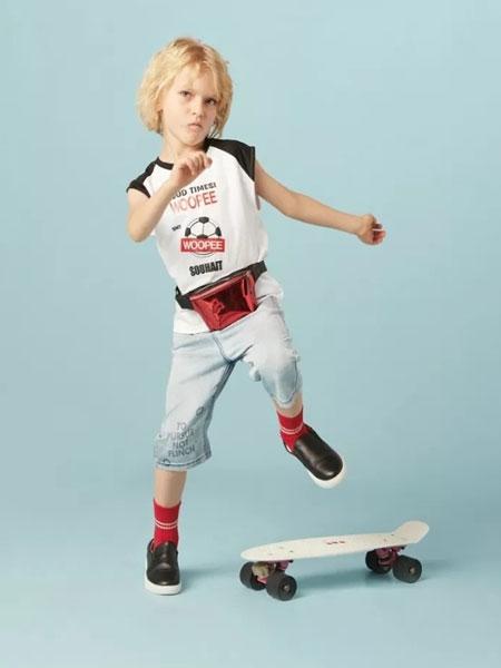 水孩儿souhait龙8品牌2020春夏新款纯色图案简洁可以短袖上衣