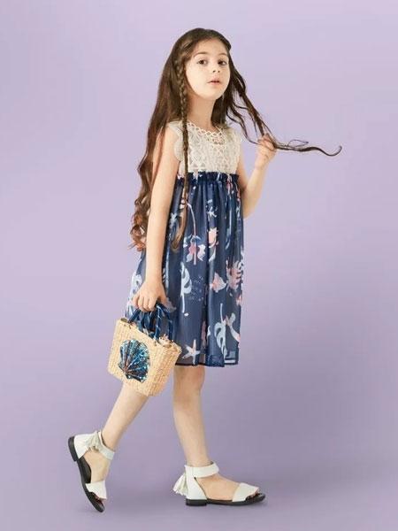 水孩儿souhait童装品牌2020春夏新款碎花吊带连衣裙