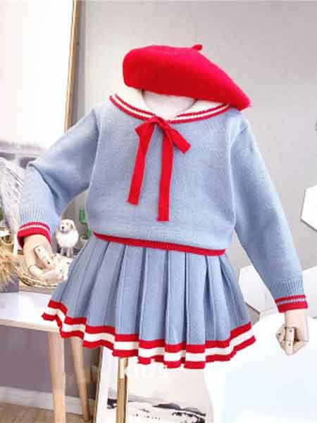 2019新款女童学院风套头针织衫短裙两件套中小童裙套装