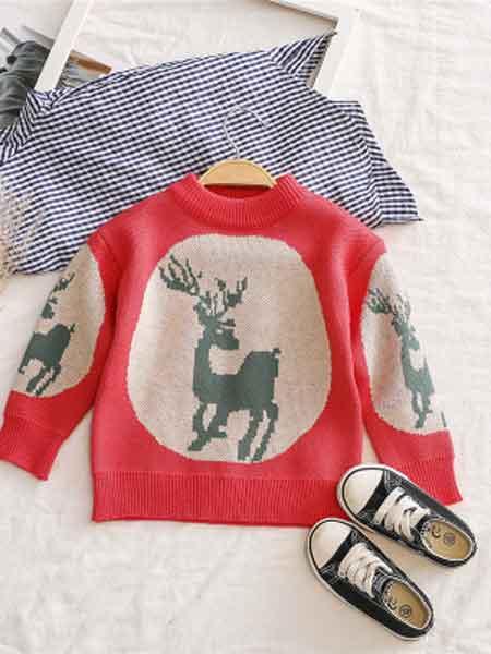 韩版儿童针织衫男女童套头毛衣秋冬加绒加厚中小童打底衫