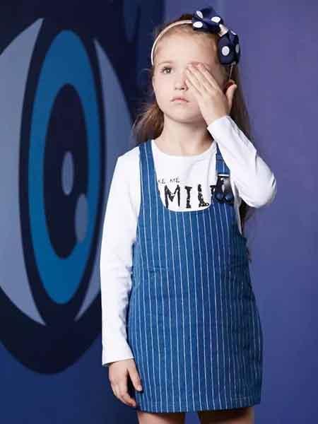 塔哒儿童装品牌2020春夏新款纯色条纹吊带裙