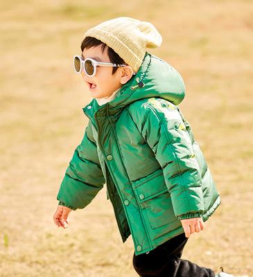男童冬季外套加绒加厚2019韩版儿童短款棉服字母印花连帽棉衣