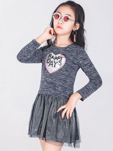 简格童装品牌2020春夏新款儿童春夏长袖连衣裙网沙并接连衣群私人定制作
