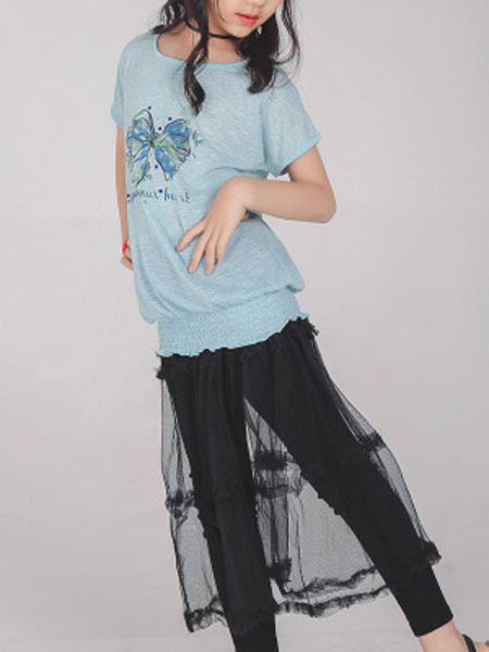 简格童装品牌2020春夏新款针织短袖小中童洋汽公主时尚上衣