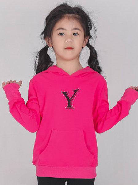 简格童装品牌2020春夏儿童时尚 女童装卫衣 针织 中大童Y字母休闲上衣