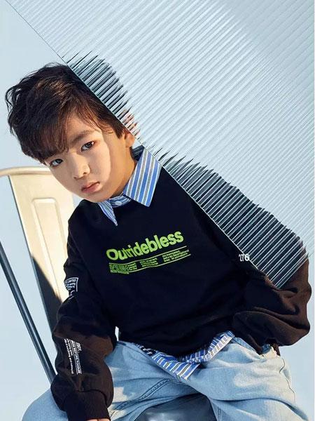 Outride越也童�b品牌2020春夏新款�色印字�l衣