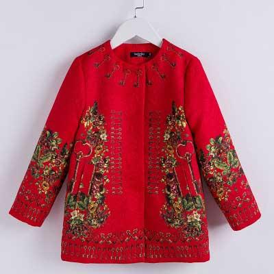 红色女童外套春秋2019新款 欧美印花儿童上衣 中大童童装