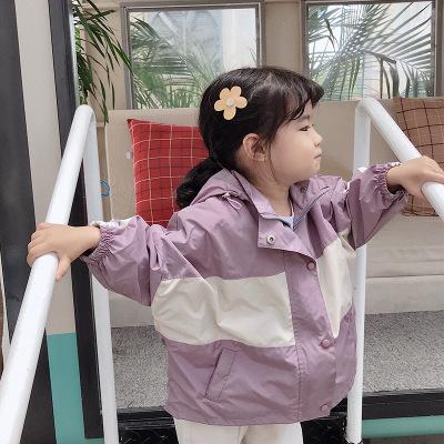 儿童风衣外套2020春季新品童装 ins女童拼色夹克衫外套韩版宽松