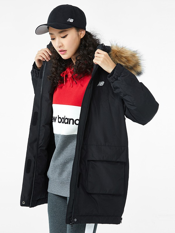NewBalance童装品牌2020秋冬新款纯色经典小标大毛领羽绒服