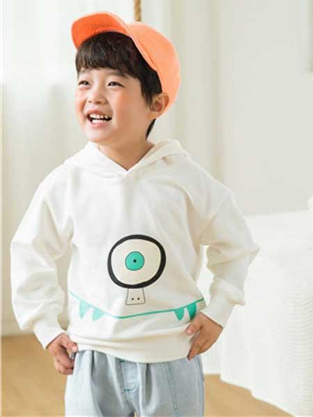 五岳童盟童装品牌2020春夏新款白色带帽卫衣