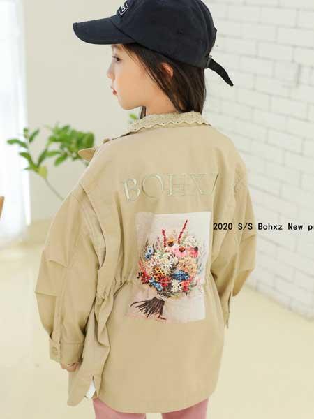 柏惠信子童装品牌2020春夏新款纯色翻领背后图案外套