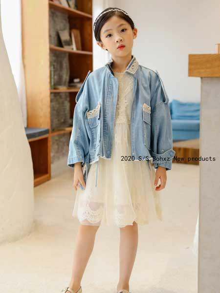 柏惠信子童装品牌2020春夏新款纯色纽扣牛仔外套