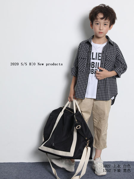 H|O逅童装品牌2020春夏新款纯色格子气质衬衫
