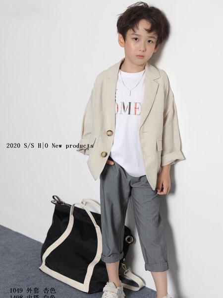 H|O逅童装品牌2020春夏新款纯色简洁斯文气质开衫