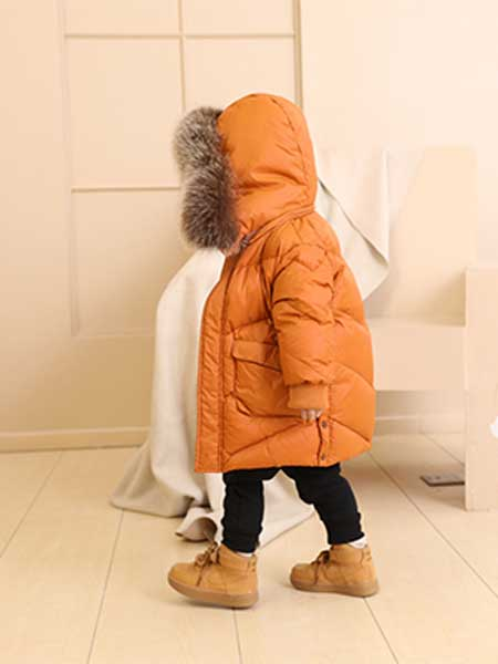 BevaBela贝瓦贝拉童装品牌2020春橙色羽绒服