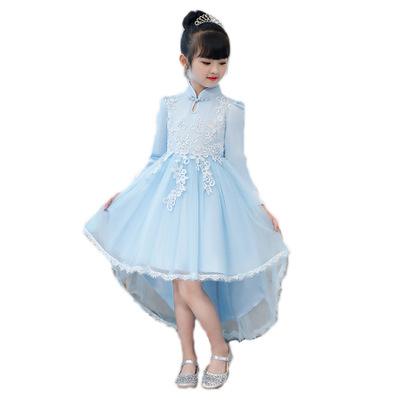 德夫阿可童装品牌2020春夏中国风旗袍3-13岁中大童装儿童拖尾礼服裙