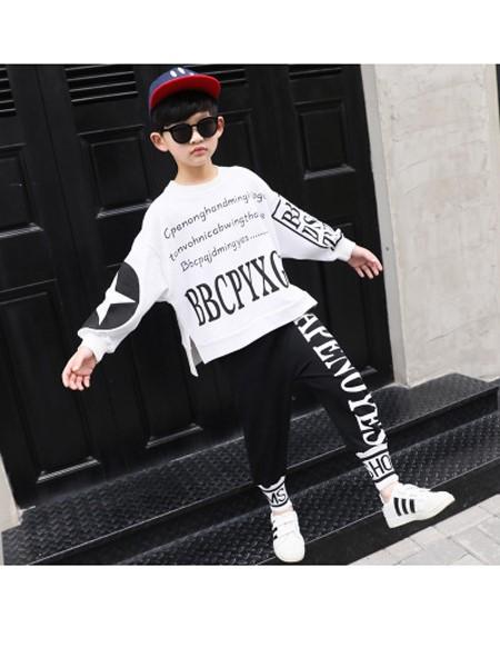桉比童装品牌2020秋冬纯棉运动套装