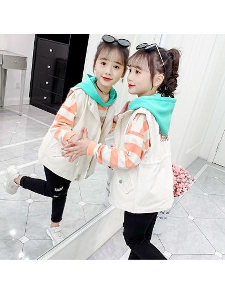 可哟咪童装品牌2020春夏韩版洋气时髦儿童牛仔马甲卫衣裙两件套潮