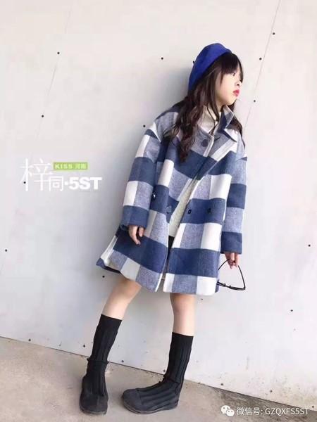 5ST童装品牌2019秋冬长款格子大衣