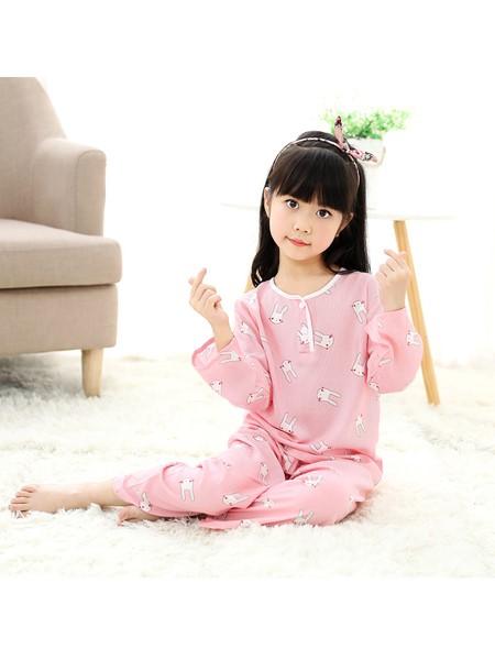 R88童装童装品牌2020春夏长袖长裤竹节家居服男女童宝宝套装