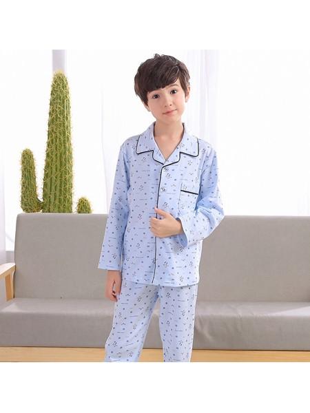 R88童装童装品牌2020春夏绵绸睡衣长袖长裤竹节家居服