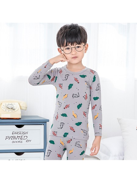 趴趴熊童装品牌2020秋冬保暖内衣套装男女童纯棉圆领秋冬睡衣套装