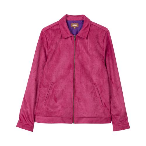 Golf Wang童装品牌2020春夏人造麂皮工作夹克,配以缎面衬里和拉链封口。背面绣有徽标。